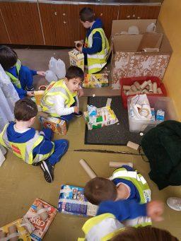 Children creating from junk